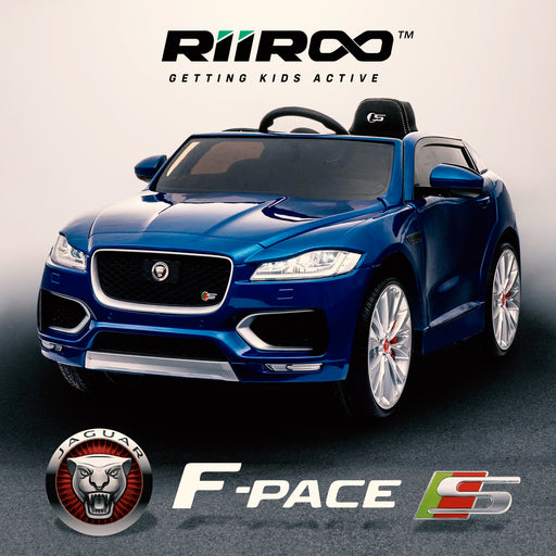 kids electric ride on jaguar f pace licensed battery operated car with parental remote control 12v life style blue 2