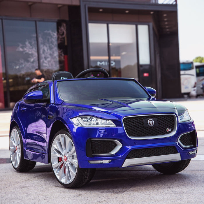 kids electric ride on jaguar f pace licensed battery operated car with parental remote control 12v life style blue