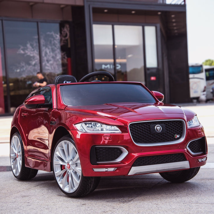 kids electric ride on jaguar f pace licensed battery operated car with parental remote control 12v life style red