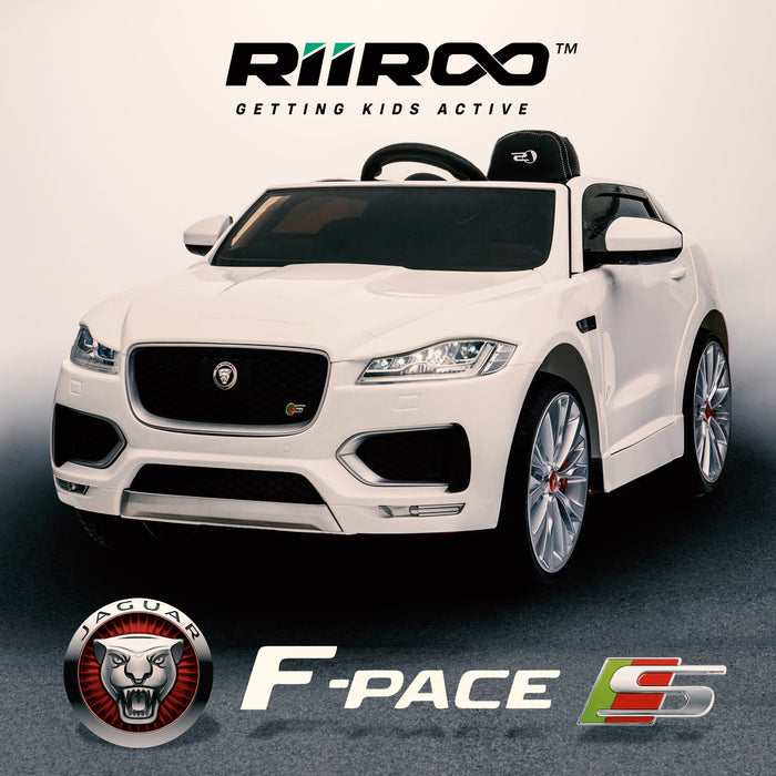 kids electric ride on jaguar f pace licensed battery operated car with parental remote control 12v life style white 2