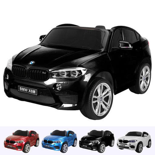 kids electric ride on car 12v bmw x6m sport black2 Painted Black licensed battery powered 2 seat leather