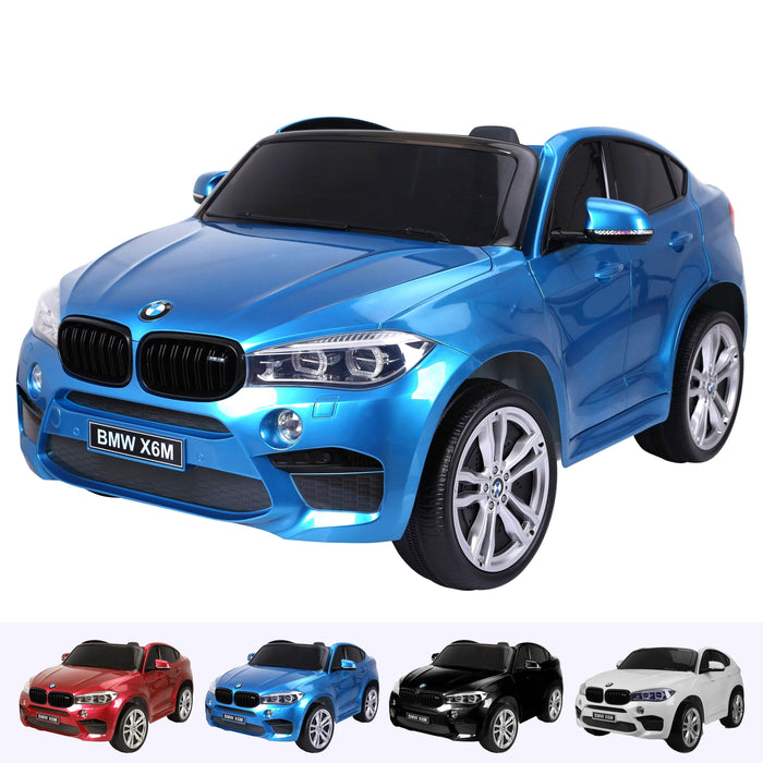 kids electric ride on car 12v bmw x6m sport blue2 Blue licensed battery powered 2 seat leather