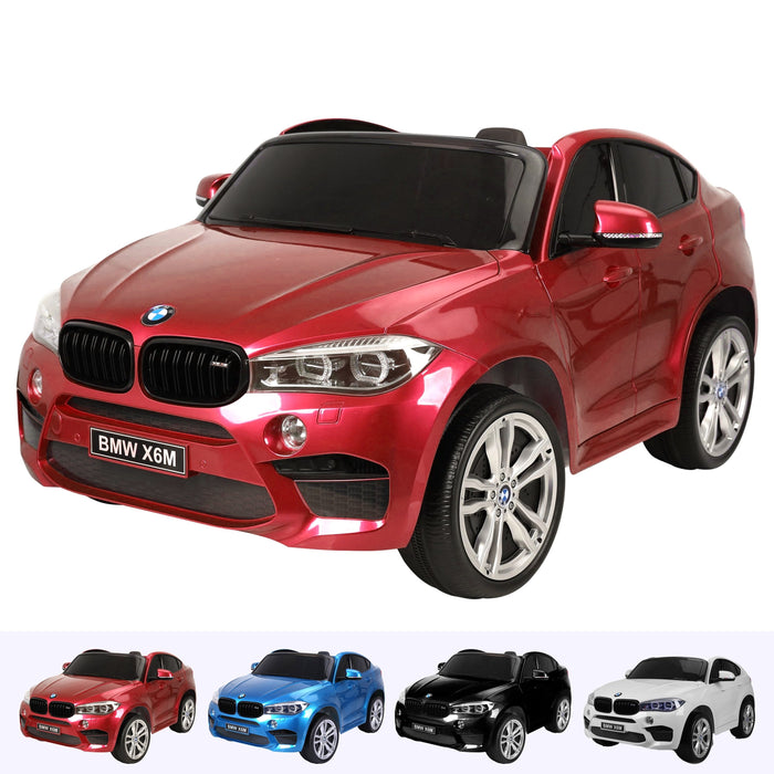 kids electric ride on car 12v bmw x6m sport red2 Red licensed battery powered 2 seat leather