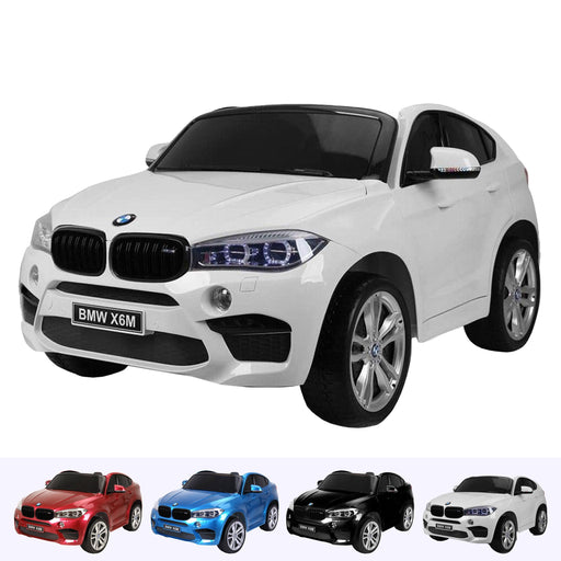 kids electric ride on car 12v bmw x6m sport white2 White licensed battery powered 2 seat leather