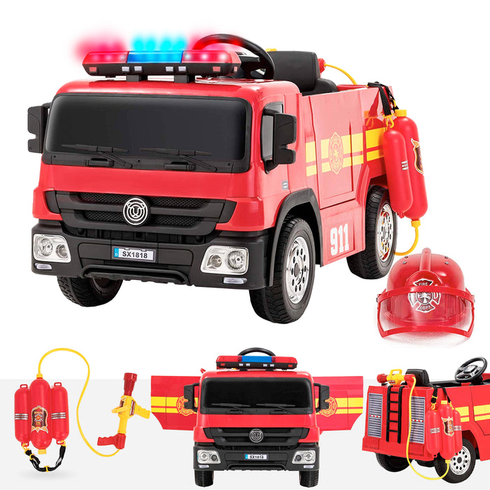 kids fire engine truck 12v with helmet ride on car
