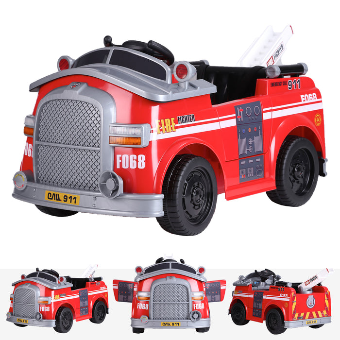 kids fire engine truck electric ride on car truck riiroo 6v