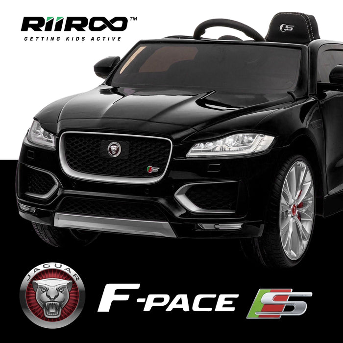 kids jaguar f pace licensed electric battery ride on car jeep with parental remote control power wheels black 2