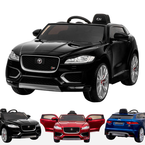 kids jaguar f pace licensed electric battery ride on car jeep with parental remote control power wheels black black