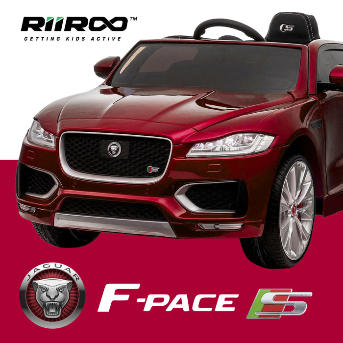 kids jaguar f pace licensed electric battery ride on car jeep with parental remote control power wheels red 2