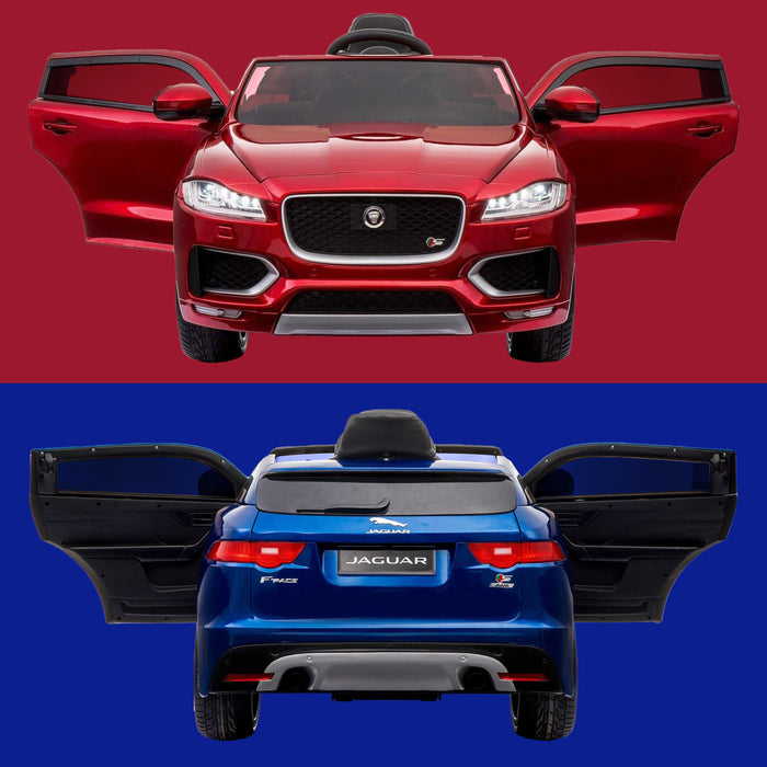kids jaguar f pace licensed electric battery ride on car jeep with parental remote control power wheels red blue