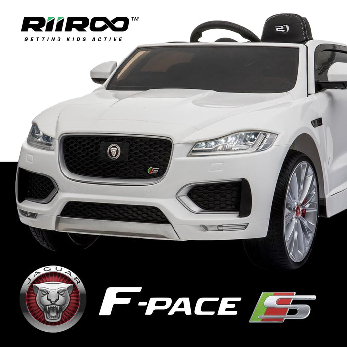 kids jaguar f pace licensed electric battery ride on car jeep with parental remote control power wheels white 2
