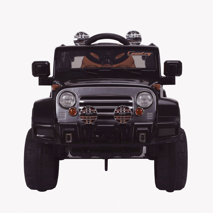 kids jeep wangler style 12 electric ride on car with parental remote 2 black direct front wrangler suv battery 12v music