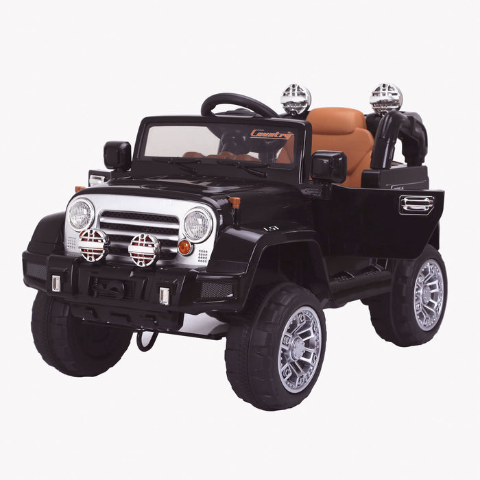 kids jeep wangler style 12 electric ride on car with parental remote 2 black front perspective wrangler suv battery 12v music
