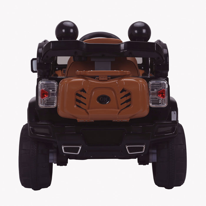 kids jeep wangler style 12 electric ride on car with parental remote 2 black rear direct wrangler suv battery 12v music