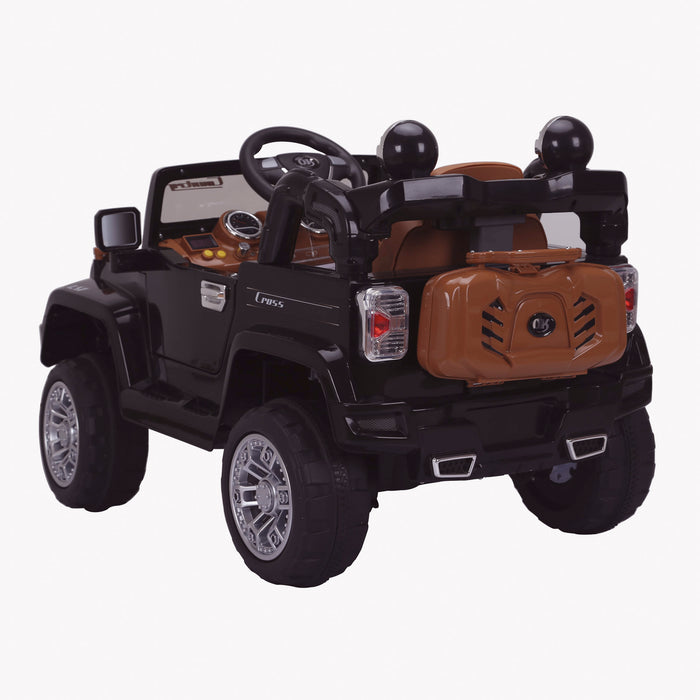 kids jeep wangler style 12 electric ride on car with parental remote 2 black rear voew wrangler suv battery 12v music