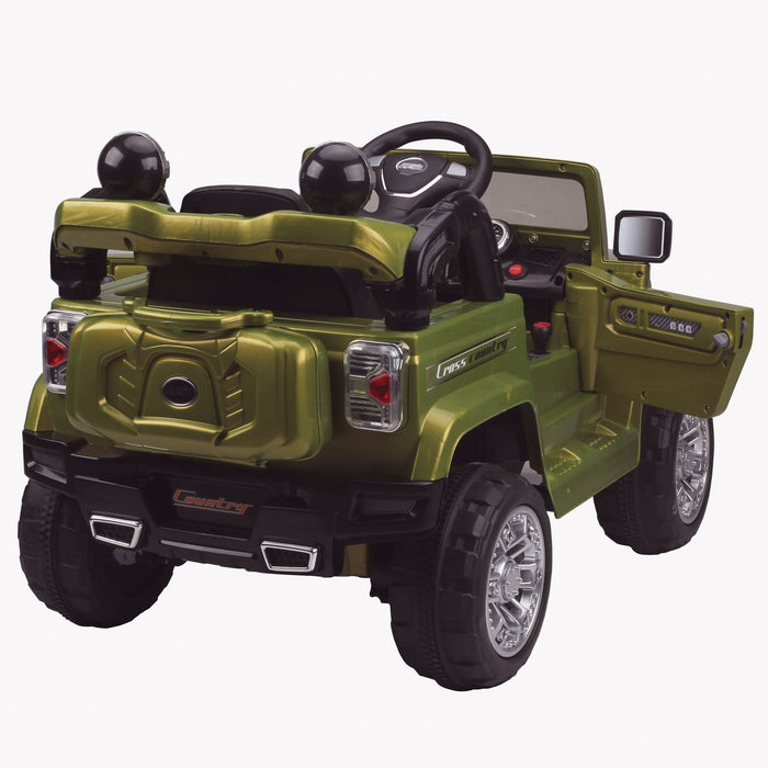 kids jeep wangler style 12 electric ride on car with parental remote 2 rear perspective wrangler suv battery 12v music