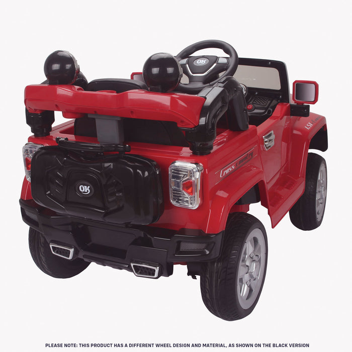 kids jeep wangler style 12 electric ride on car with parental remote 2 rear red perspective wrangler suv battery 12v music