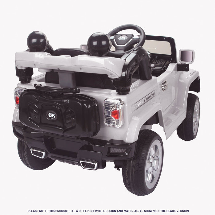 kids jeep wangler style 12 electric ride on car with parental remote 2 rear white perspective wrangler suv battery 12v music
