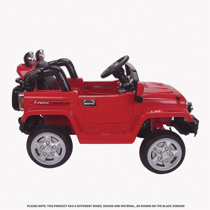 kids jeep wangler style 12 electric ride on car with parental remote 2 red side right view wrangler suv battery 12v music
