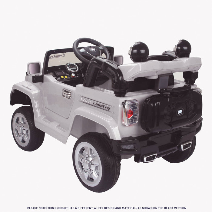 kids jeep wangler style 12 electric ride on car with parental remote 2 white rear perspective wrangler suv battery 12v music