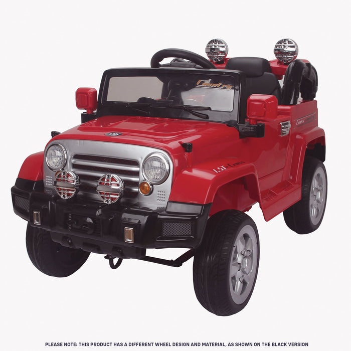 kids jeep wangler style 12 electric ride on car with parental remote red perspective front wrangler suv battery 12v music