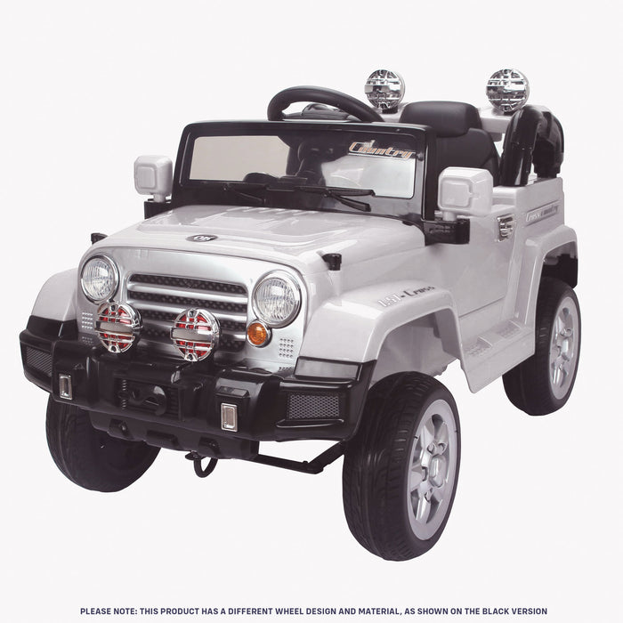 kids jeep wangler style 12 electric ride on car with parental remote white perspective front wrangler suv battery 12v music