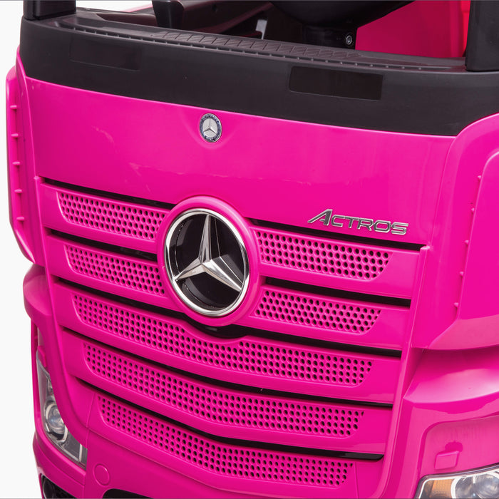 kids mercedes actros licensed ride on electric truck battery operated power wheels with parental remote control main badges close up benz 24v 4wd