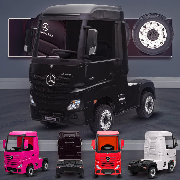 kids mercedes actros licensed ride on electric truck battery operated power wheels with parental remote control main black Black benz 24v 4wd