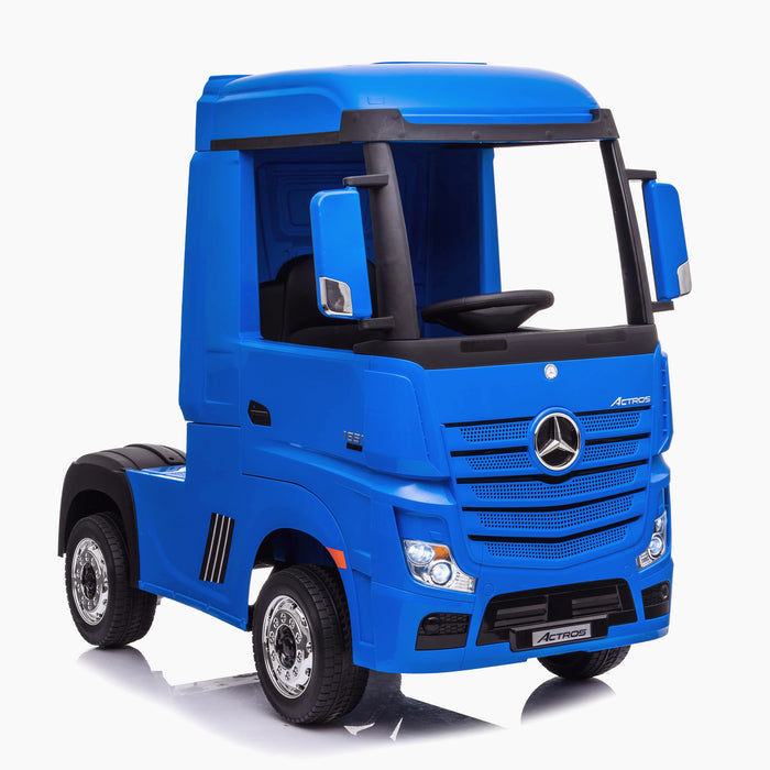 kids mercedes actros licensed ride on electric truck battery operated power wheels with parental remote control main blue front benz 24v 4wd