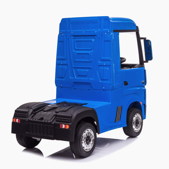 kids mercedes actros licensed ride on electric truck battery operated power wheels with parental remote control main blue rear benz 24v 4wd
