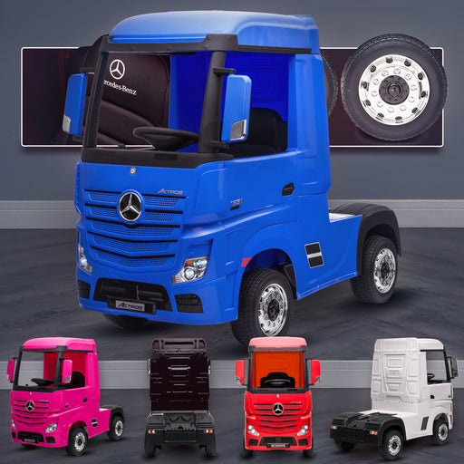 kids mercedes actros licensed ride on electric truck battery operated power wheels with parental remote control main blue Blue benz 24v 4wd
