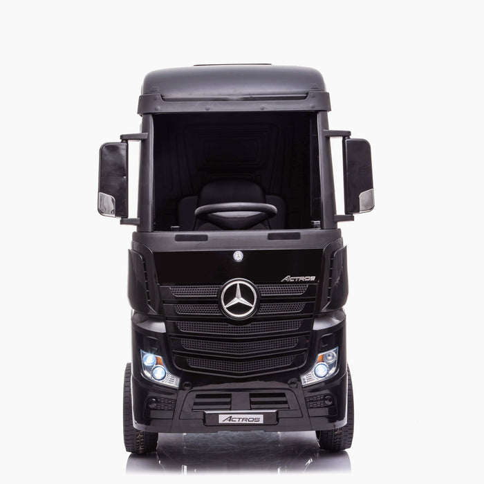 kids mercedes actros licensed ride on electric truck battery operated power wheels with parental remote control main front black direct benz 24v 4wd