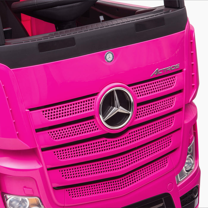 kids mercedes actros licensed ride on electric truck battery operated power wheels with parental remote control main front close up benz 24v 4wd
