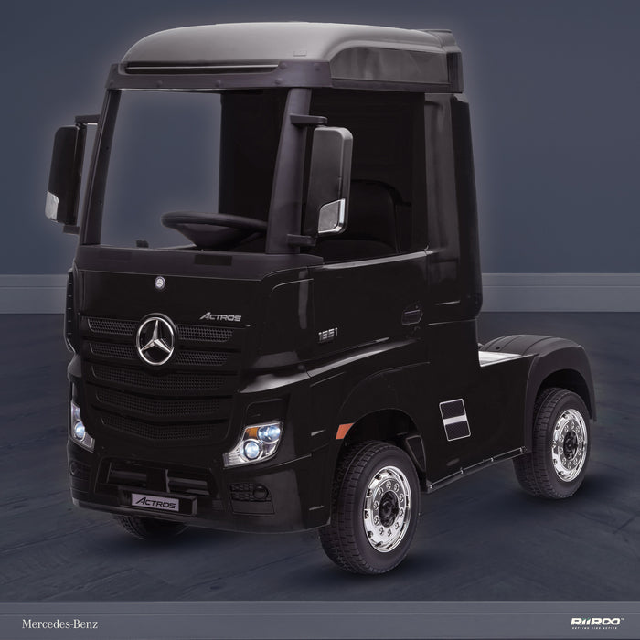 kids mercedes actros licensed ride on electric truck battery operated power wheels with parental remote control main front perspe black benz 24v 4wd