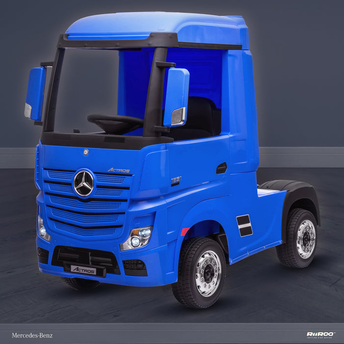 kids mercedes actros licensed ride on electric truck battery operated power wheels with parental remote control main front perspe blue benz 24v 4wd