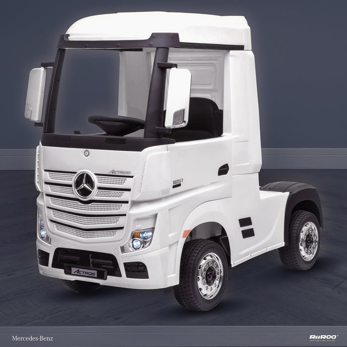 kids mercedes actros licensed ride on electric truck battery operated power wheels with parental remote control main front perspe white benz 24v 4wd
