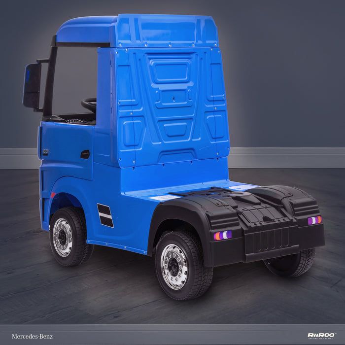 kids mercedes actros licensed ride on electric truck battery operated power wheels with parental remote control main rear perspective blue benz 24v 4wd