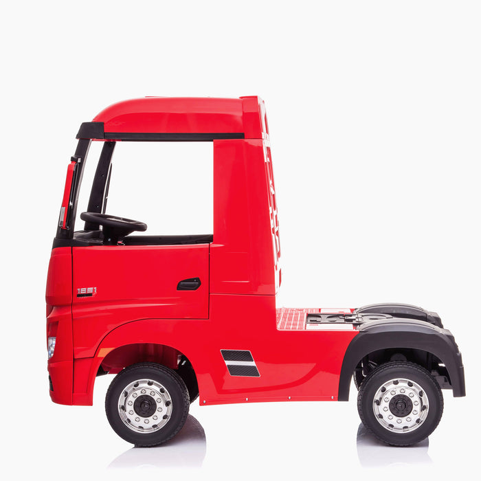 kids mercedes actros licensed ride on electric truck battery operated power wheels with parental remote control main red side benz 24v 4wd
