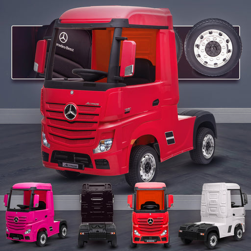 kids mercedes actros licensed ride on electric truck battery operated power wheels with parental remote control main red Red benz 24v 4wd