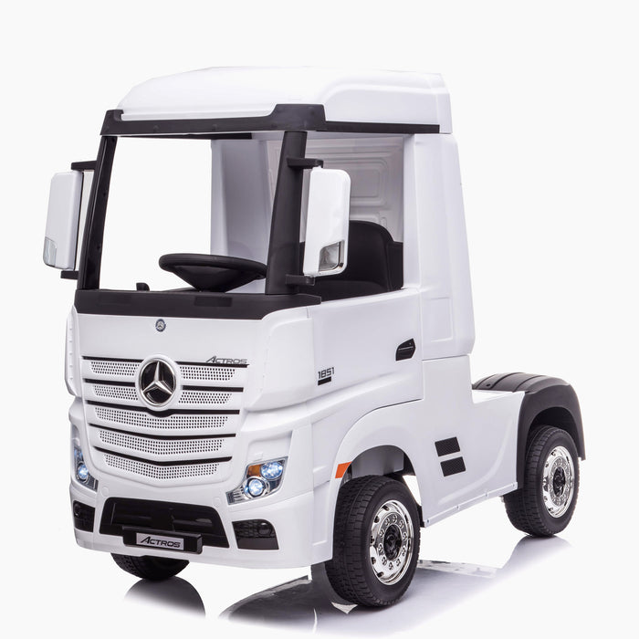 kids mercedes actros licensed ride on electric truck battery operated power wheels with parental remote control main white front 2 benz 24v 4wd