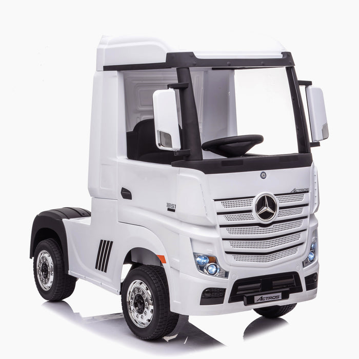 kids mercedes actros licensed ride on electric truck battery operated power wheels with parental remote control main white front benz 24v 4wd