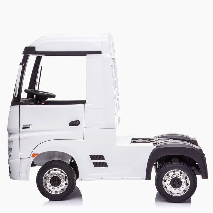 kids mercedes actros licensed ride on electric truck battery operated power wheels with parental remote control main white side benz 24v 4wd