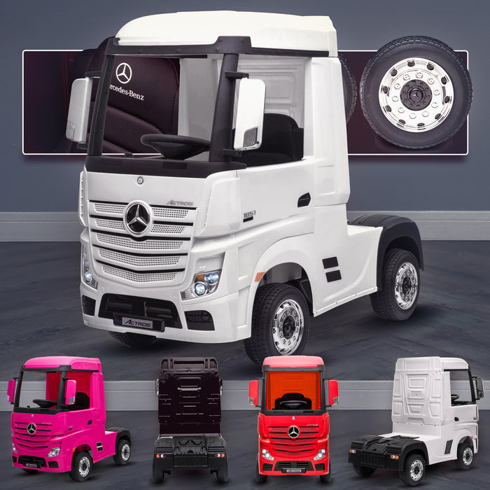 kids mercedes actros licensed ride on electric truck battery operated power wheels with parental remote control main white White benz 24v 4wd