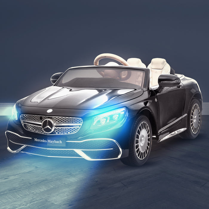 kids mercedes maybach s650 licensed ride on electric car battery operated power wheels car with parental remote control main black lights on benz 12v 4wd