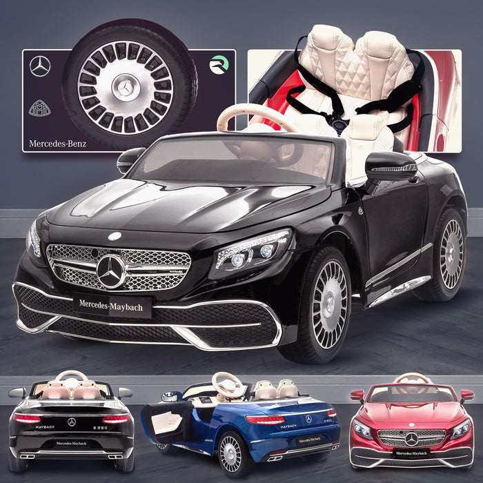 kids mercedes maybach s650 licensed ride on electric car battery operated power wheels car with parental remote control main black Painted Black benz 12v 4wd