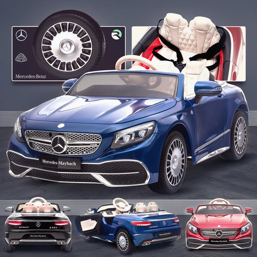 kids mercedes maybach s650 licensed ride on electric car battery operated power wheels car with parental remote control main blue Painted Blue benz 12v 4wd