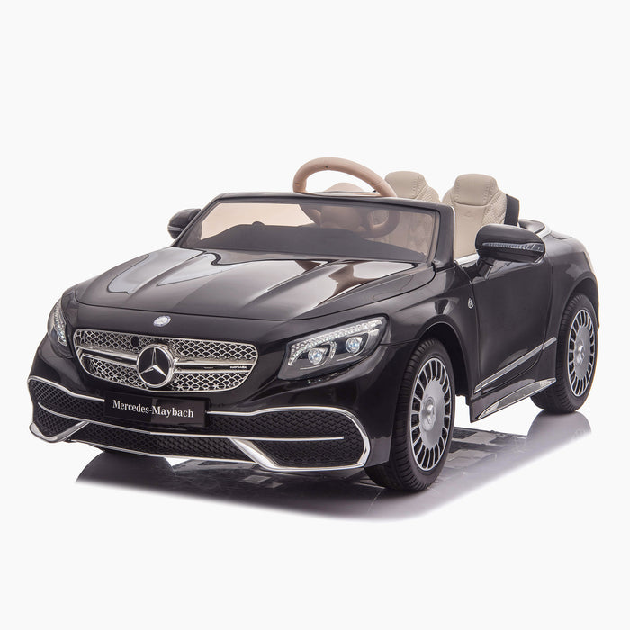 kids mercedes maybach s650 licensed ride on electric car battery operated power wheels car with parental remote control main front 2 black benz 12v 4wd