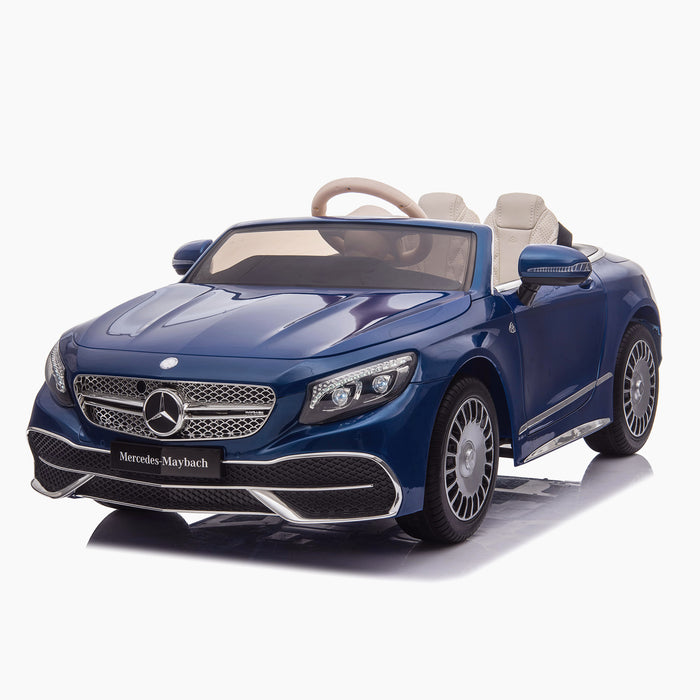 kids mercedes maybach s650 licensed ride on electric car battery operated power wheels car with parental remote control main front 2 blue benz 12v 4wd