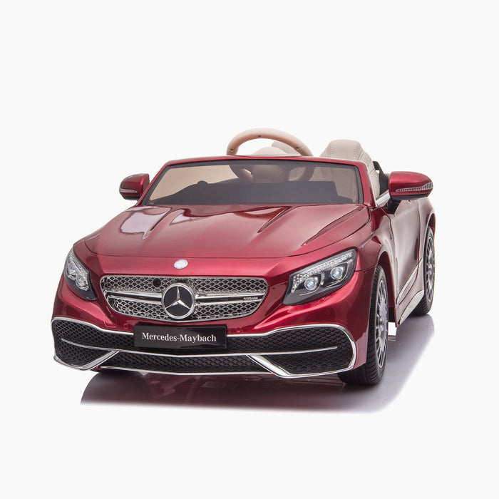 kids mercedes maybach s650 licensed ride on electric car battery operated power wheels car with parental remote control main front 2 red benz 12v 4wd