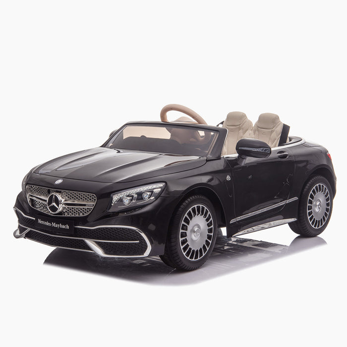 kids mercedes maybach s650 licensed ride on electric car battery operated power wheels car with parental remote control main front 3 black benz 12v 4wd